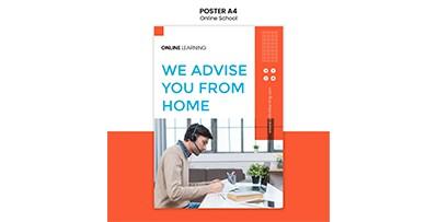 دانلود طرح لایه باز  پوستر مدرسه آنلاین PSD
